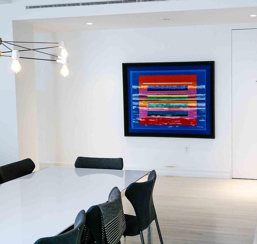 "JEF BRETSCHNEIDER: COLOR FIELD / LANDSCAPE 48""X 60"" Acrylic on mesh"