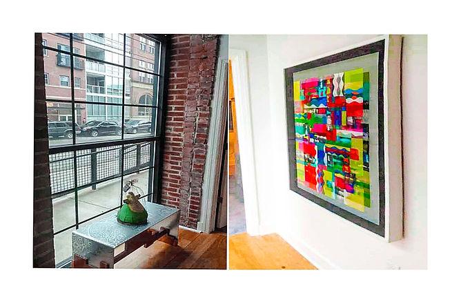 JEF BRETSCHNEIDER: UNTITLED ABSTRACTION, 3ft x 4ft, Acrylic on mesh, White frame