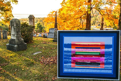 JEF BRETSCHNEIDER: COLOR FIELD LANDSCAPE Acrylic on mesh 4ft x 5ft