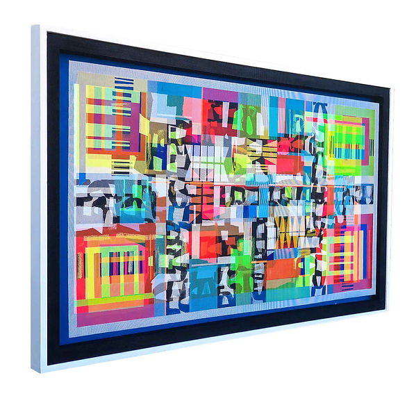 JEF BRETSCHNEIDER: UNTITLED HYBRID ABSTRACTION 36in x 60in 92cm x 153cm Acrylic on mesh White frame