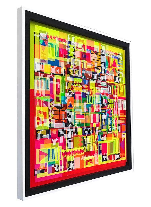 JEF BRETSCHNEIDER: Diaspora Boogie-Woogie 48in x 48in Acrylic on Mesh White Frame