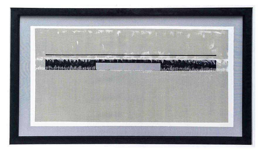 JEF BRETSCHNEIDER: 36 x 60 BLACK & WHITE COLOR-FIELD LANDSCAPE FRONT