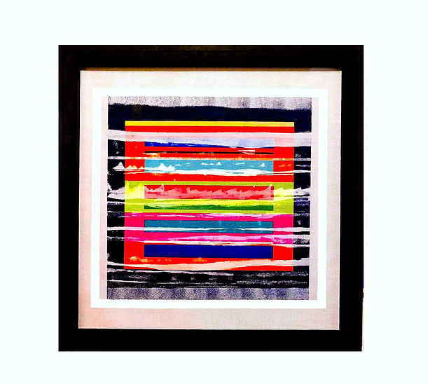 JEF BRETSCHNEIDER: COLOR FIELD LANDSCAPE 36 in. X 36 in. 91cm. X 91cm. Acrylic on mesh Black frame PROPOSED 12/05 COMPLETED 12/15  SHIPPED 12/18