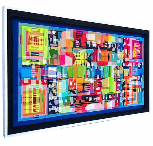 JEF BRETSCHNEIDER: (BLUE) HYBRID ABSTRACTION 36in X 60in 92cm x 153cm Acrylic on mesh White frame