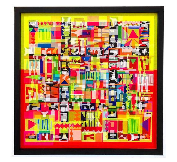 JEF BRETSCHNEIDER: CHAI! DIASPORA BOOGIE-WOOGIE 48inx 48 in Acrylic on mesh White frame