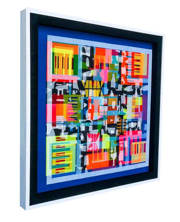JEF BRETSCHNEIDER: TRANS/HYBRID ABSTRACTION 36in X 36in Acrylic on mesh White frame
