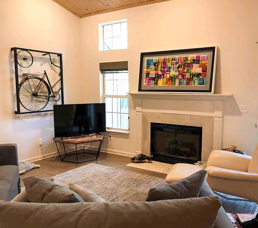 "JEF BRETSCHNEIDER: 30"" X 60"" ABSTRACTION Acrylic on mesh White frame, Folly Island Beach House, South Carolina"