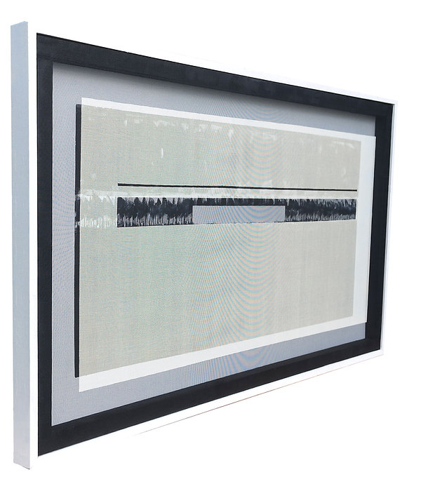 JEF BRETSCHNEIDER: 36 x 60 BLACK & WHITE COLOR-FIELD LANDSCAPE SIDE LEFT