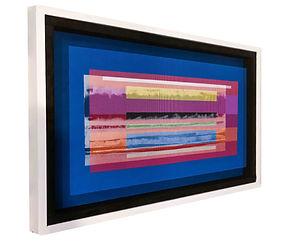 JEF BRETSCHNEIDER: COL:OR FIELD LANDSCAPE Acrylic on mesh White frame 2ft x 3ft COMMISSION