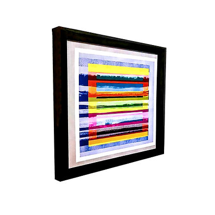 JEF BRETSCHNEIDER: COLOR FIELD LANDSCAPE, 36in x 36in, Acrylic on mesh, Black frame