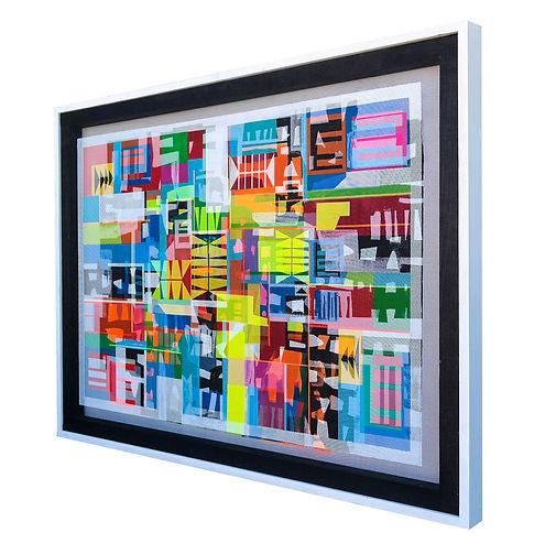 JEF BRETSCHNEIDER:TRANS/HYBRID ABSTRACTION 36in X 48in Acrylic on mesh White frame