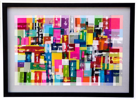 JEF BRETSCHNEIDER: ABSTRACTION Acrylic on mesh 4ft x 5ft