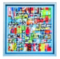 JEF BRETSCHNEIDER: LIGHT BLUE HYBRID #1 48in. x 48in Acrylic on mesh White frame