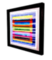 "JEF BRETSCHNEIDER: COLOR FIELD/LANDSCAPE 37.5"" X 37.5"" Acrylic on mesh Black frame"