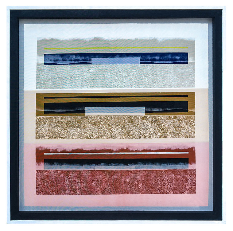 JEF BRETSCHNEIDER: Black &White Series COLOR FIELD / LANDSCAPE 48in x 48in 122cm x 122cm Acrylic on mesh White frame