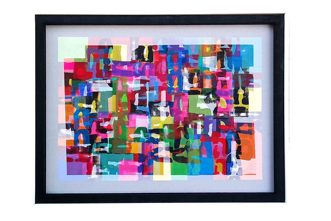 JEF BRETSCHNEIDER: ABSTRACTION Acrylic on mesh 3ft x 4ft
