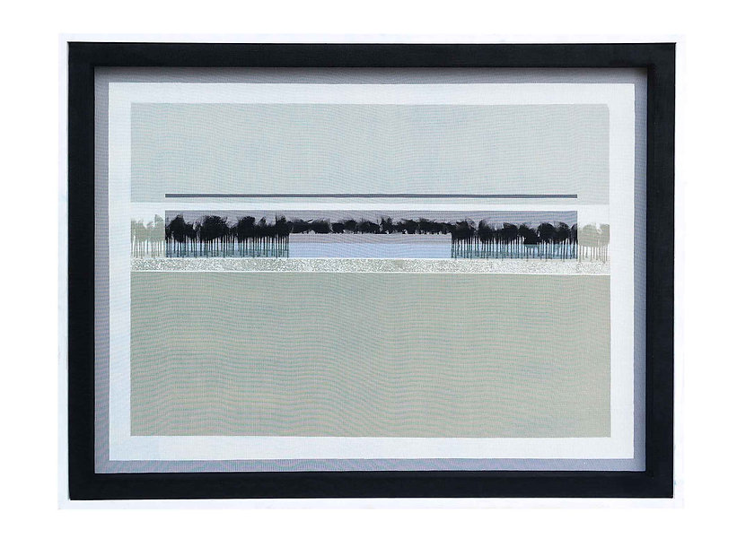 JEF BRETSCHNEIDER: COLOR FIELD / LANDSCAPE 36in x 48in Acrylic on mesh White frame