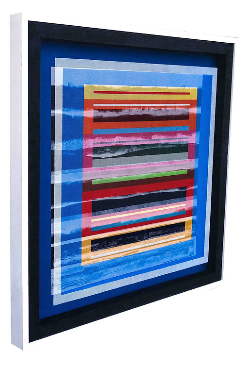 JEF BRETSCHNEIDER:  COLOR FIELD LANDSCAPE 36in X 36in Acrylic on mesh White frame