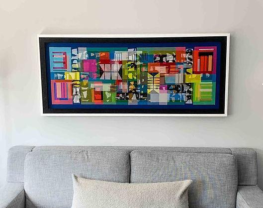 "JEF BRETSCHNEIDER: UNTITLED ABSTRACTION 24"" x 60"" Acrylic on mesh White frame."