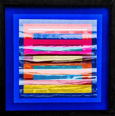 JEF BRETSCHNEIDER: COLOR FIELD LANDSCAPE 36 in. X 36 in. 91cm. X 91cm. Acrylic on mesh White frame