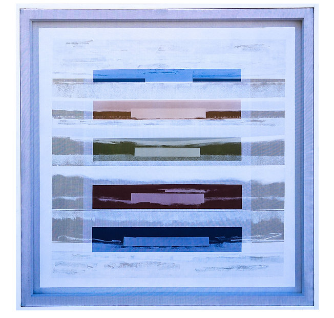 JEF BRETSCHNEIDER: COLOR FIELD / LANDSCAPE  48in X 48in Acrylic on mesh White frame