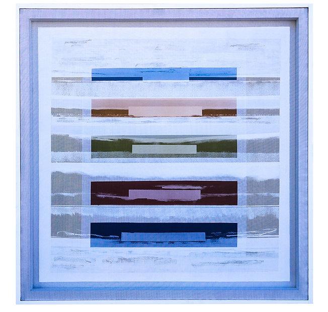 JEF BRETSCHNEIDER: COLOR FIELD / LANDSCAPE  48in X 48in Acrylic on mesh White frame