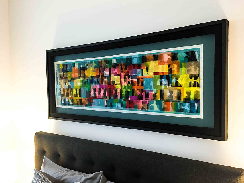 JEF BRETSCHNEIDER: Collection of Fred Knoll - NYC - ABSTRACTION Acrylic on mesh 28 x 60