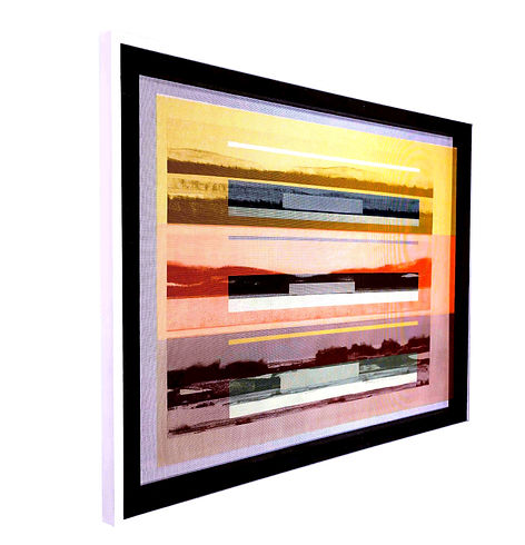 JEF BRETSCHNEIDER: COLOR FIELD LANDSCAPE 36in X 48in Acrylic on mesh White frame