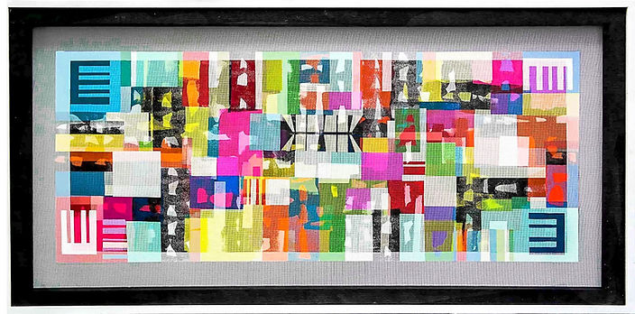 "JEF BRETSCHNEIDER: UNTITLED ABSTRACTION 30"" x 60"" Acrylic on mesh White frame"