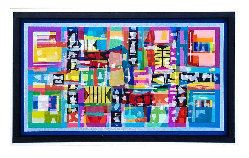 JEF BRETSCHNEIDER: BLUE HYBRID #1 36in x 60in Acrylic on mesh white frame
