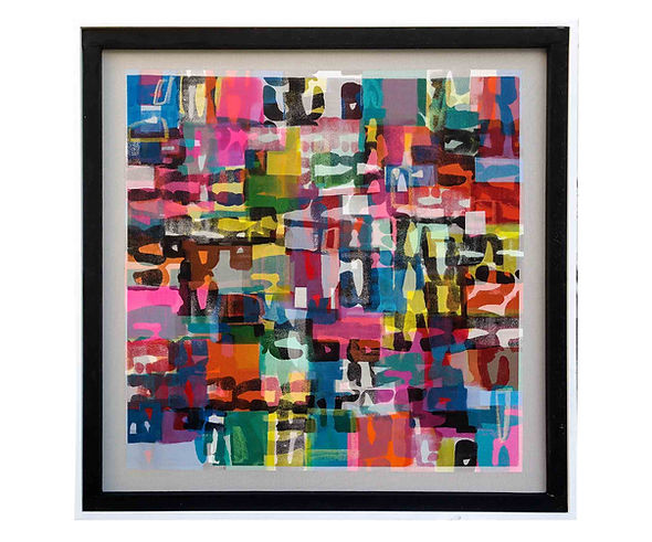JEF BRETSCHNEIDER: ABSTRACTION Acrylic on mesh 4ft x 4ft