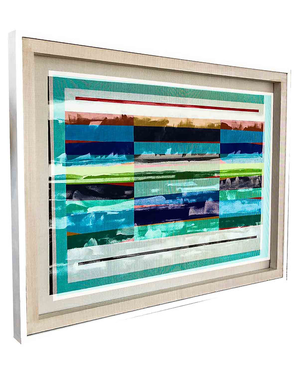 COLOR-FIELD-SEASCAPE-35in x 48in Acrylic on mesh, White Frame