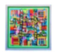JEF BRETSCHNEIDER: GREEN HYBRID #1 48in x 48in Acrylic on mesh White frame