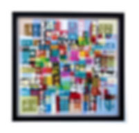 UNTITLED ABSTRACTION 48 in. x 48in Acrylic on mesh White frame
