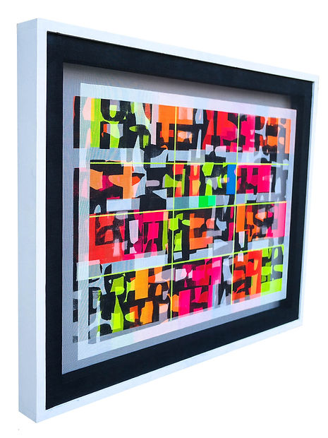 JEF BRETSCHNEIDER: ABSTRACTION 28in x 36in Acrylic on mesh white frame
