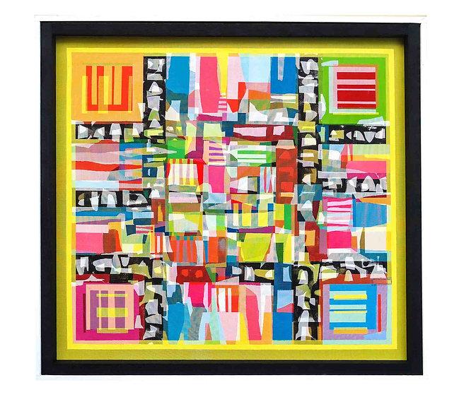 JEF BRETSCHNEIDER, YELLOW HYBRID #1 48in x48in Acrylic on mesh White frame