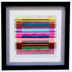 "JEF BRETSCHNEIDER: COLOR FIELD / LANDSCAPE 30"" X 30"" Acrylic on mesh, White Frame SOLD"