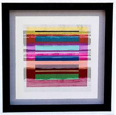 "JEF BRETSCHNEIDER: COLOR FIELD / LANDSCAPE 30"" X 30"" Acrylic on mesh, White Frame SOLD"