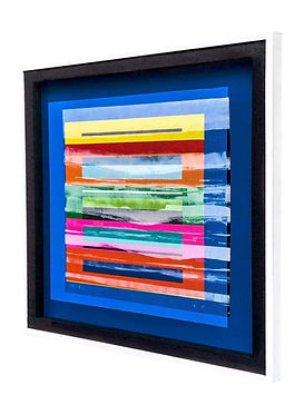 JEF BRETSCHNEIDER: COLOR FIELD LANDSCAPE, 36in x 36in, Acrylic on mesh, White frame
