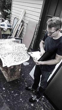 "Jef Bretchneider: MOMA / BOXART: Designer Jim Wines measuring Jef Bretchneider's ""Shifting Borders"""