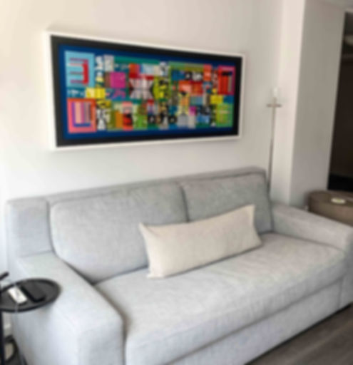 "JEF BRETSCHNEIDER: UNTITLED ABSTRACTION 24"" x 60"" Acrylic on mesh White frame."