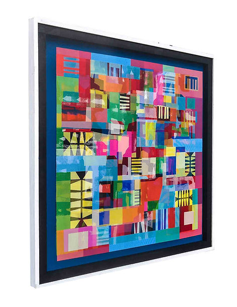 JEF BRETSCHNEIDER: UNTITLED ABSTRACTION  4ft X 4ft  122cm x 122cm  Acrylic on mesh  White frame