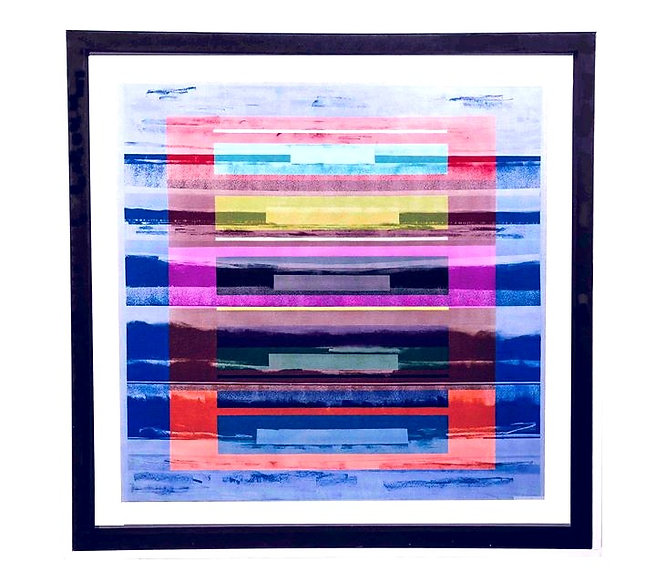 JEF BRETSCHNEIDER: COLOR FIELD LANDSCAPE 48in x 48in Acrylic on mesh White frame