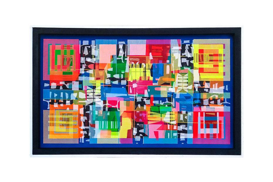 "JEF BRETSCHNEIDER: UNTITLED HYBRID ABSTRACTION 36"" X 60"" Acrylic on mesh White frame"