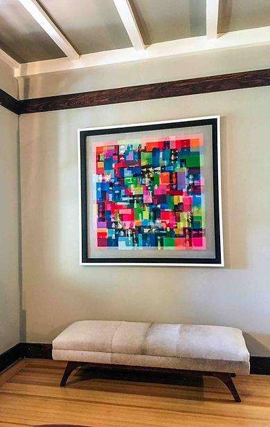 "JEF BRETSCHNEIDER: UNTITLED ABSTRACTION 48"" X 48"" Acrylic on mesh White frame"