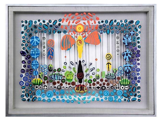JEF BRETSCHNEIDER: ICARUS  3ft x 4ft Acrylic on mesh Silver frame