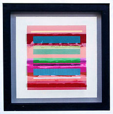 "JEF BRETSCHNEIDER: COLOR FIELD 24"" X 24"" Acrylic on mesh White frame"