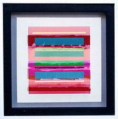 "JEF BRETSCHNEIDER: COLOR FIELD 24"" X 24"" Acrylic on mesh White frame"