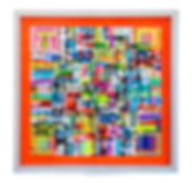 JEF BRETSCHNEIDER: ORANGE TRANS #1 48in x 48in Acrylic on mesh White frame ​