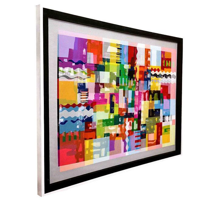 JEF BRETSCHNEIDER: 4ft x 5ft ABSTRACTION, Acrylic on mesh, White frame